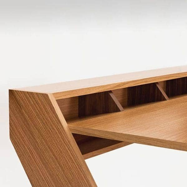 RAVENSCROFT Desk - oak and walnut finish, ultra functional, deco and design  with its cross legs