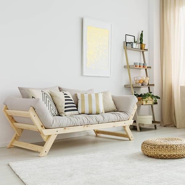 ALULA, um confortável sofá, chaise longue, conversível em cama extra - incluindo futon e 2 almofadas - deco e design