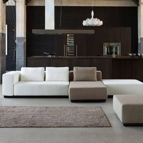 NEVADA, NORDIC, MAREMOSSO, SYNERGY og MAINLINE stof: Cabriolet Sofa, 2 eller 3 sæt, Chaise Longue og Pouf: Smukke kombinationer