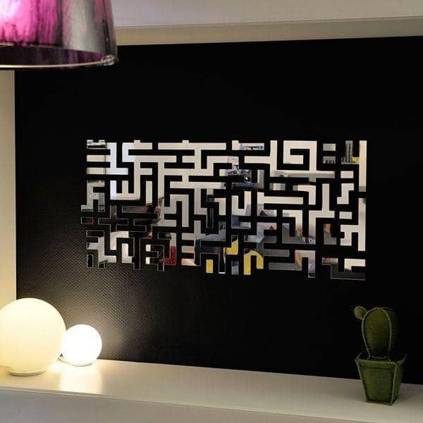 Decorative mirror LOST PARTS, as a design labyrinth by Arik Levy - 98 x 45 cm